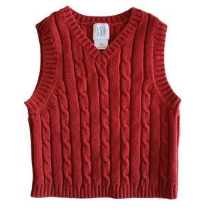 🍒3/$20🍒GAP Red Cable Knit Vest 12 - 18 mo